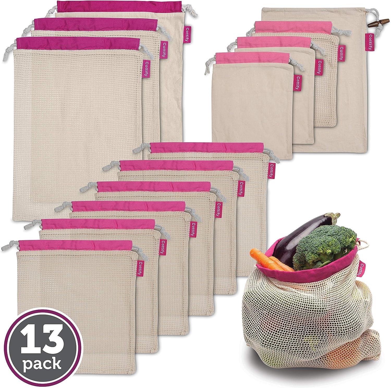 Cottify Pack de 13 bolsas Reutilizables para alimentos, Máxima ...