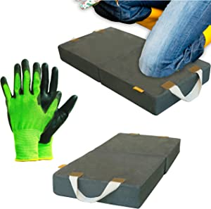 Knee Pad Extra Thick   Memory Foam Garden Kneeling Pad Tote   Bath Kneeler for Baby Bath   FREE Bamboo Working Glove   Knee Pads for Work Woman and Men   Yoga Mat Kneeling Pads Construction Exercise