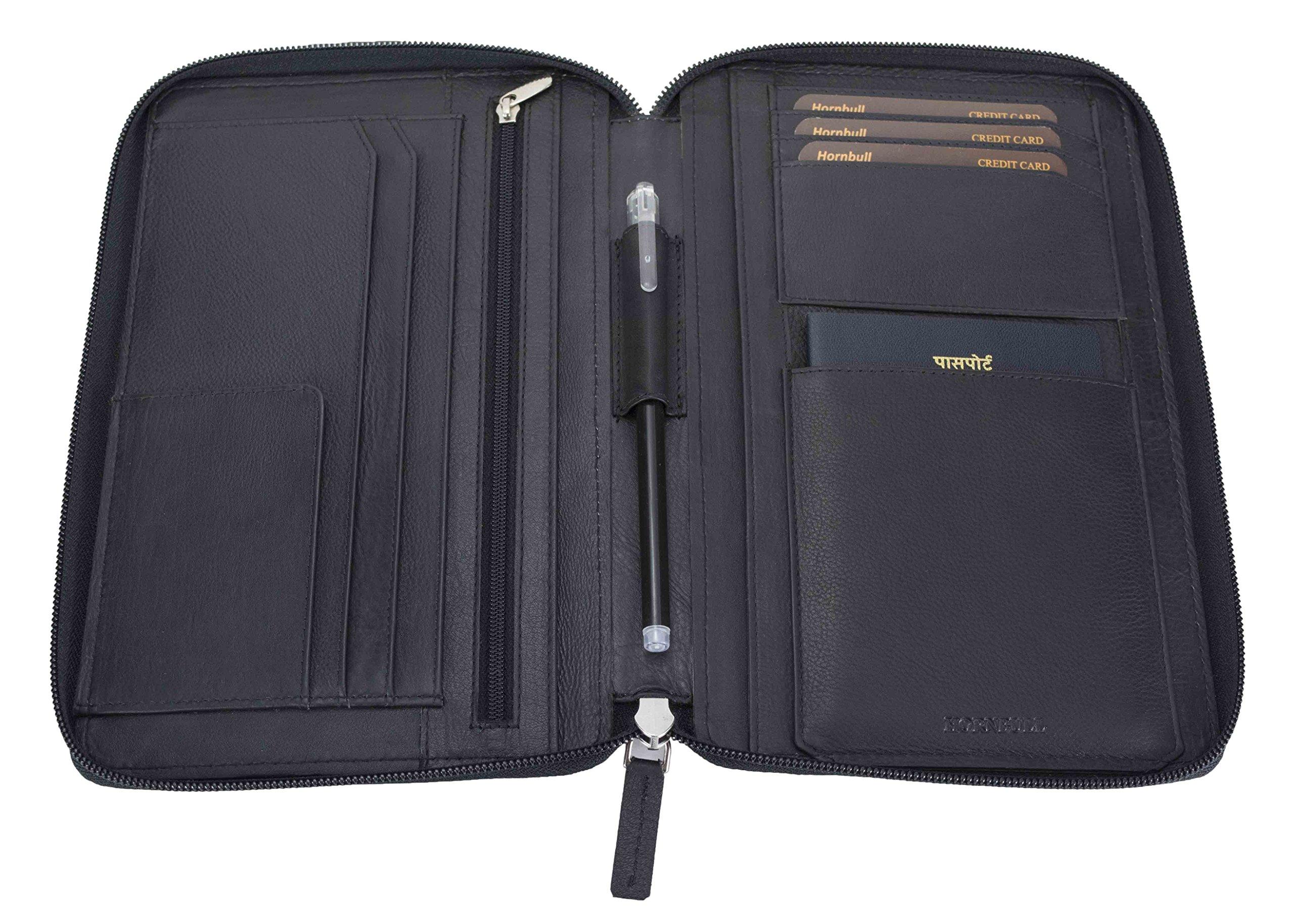 HORNBULL Black Leather Travel Document Holder product image