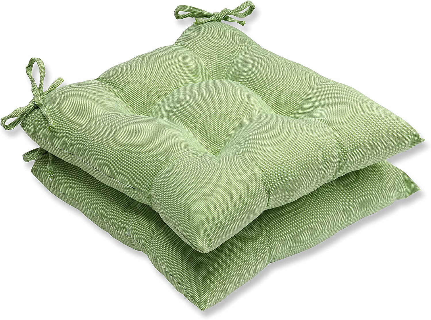 Pillow Perfect Outdoor Indoor Tweed Wrought Iron Seat Cushion Set of 2 , Lime