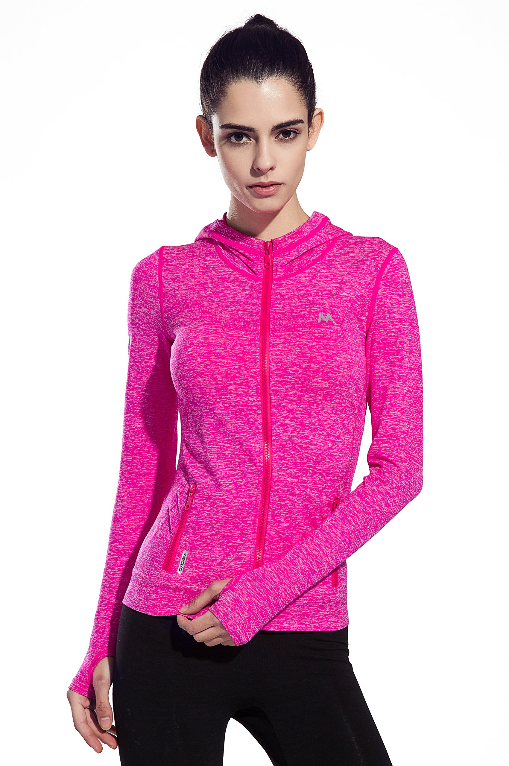 HonourSport Women's Stretchy Workout Dri-Fit Hooded Jacket Pink, S