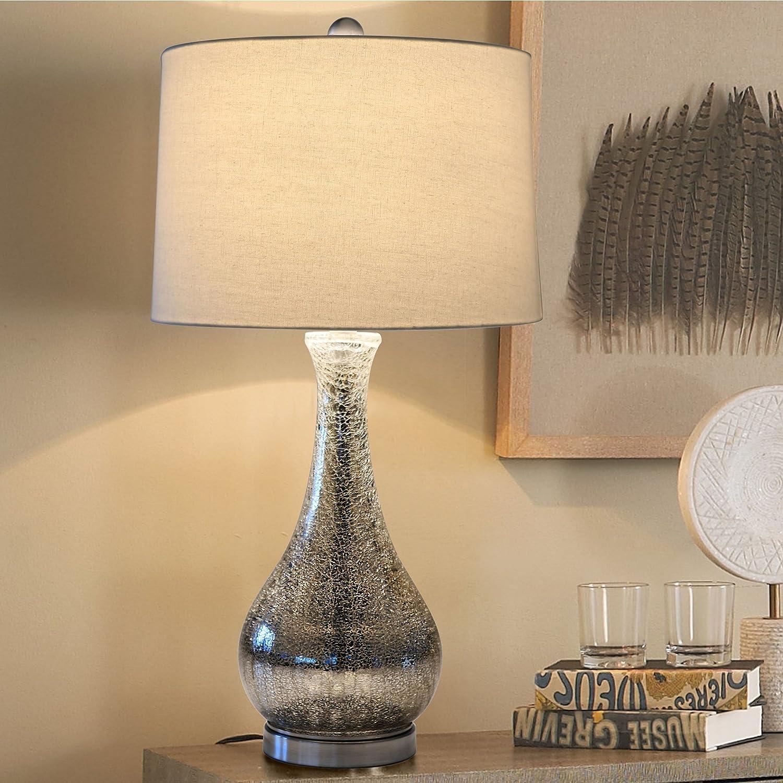 Amazon.com: Eurus Home Silver Mercury Glass Table Lamp,Crackled ...