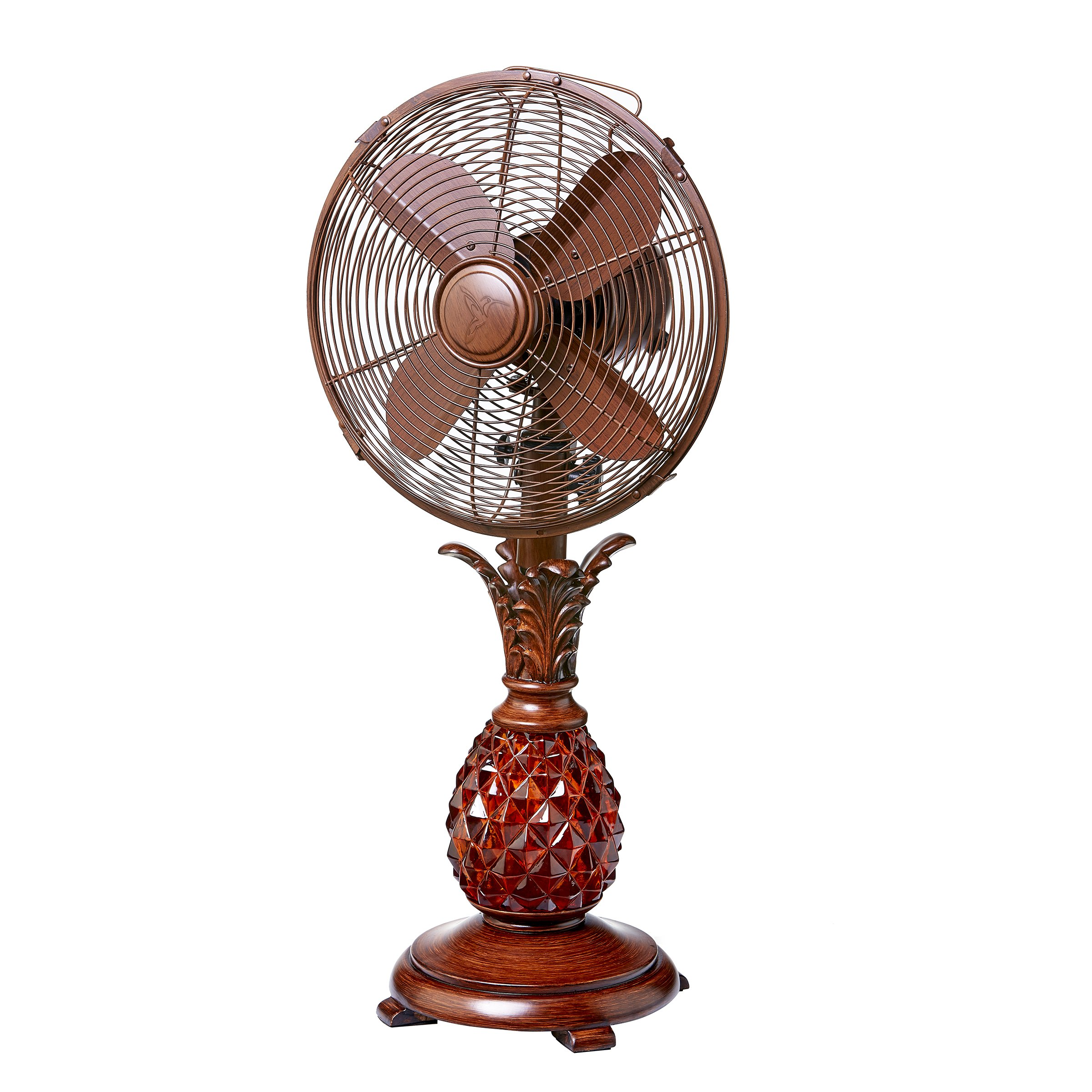 DecoBREEZE Oscillating Table Fan 3-Speed Air Circulator Fan, 10-Inch, Makani Pineapple Base