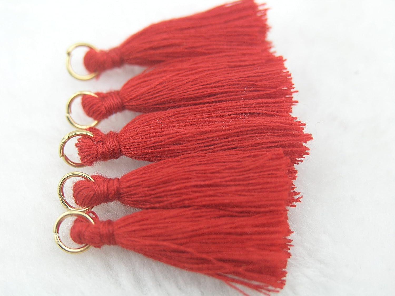 Mini Tassels 1.4 Earring Tassels 50pcs Red Silky Handmade Tiny Soft Tassels Spring Colors Colorful Tassels