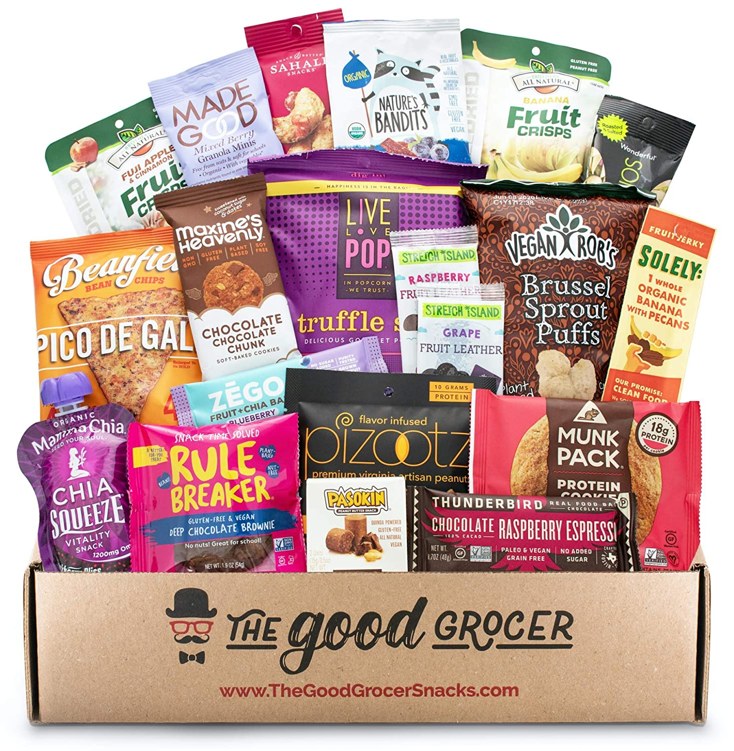 Premium GLUTEN FREE and VEGAN (DAIRY and SOY FREE) Healthy Snacks Care Package (20Ct): Featuring Delicious Wholesome Nutrient Dense Gluten Free and Vegan snacks. Office College Client Gift Box Basket