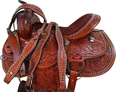 DEEP SEAT Roping Saddle 15 16 17 Pleasure Horse Trail Floral Tooled Leather TACK
