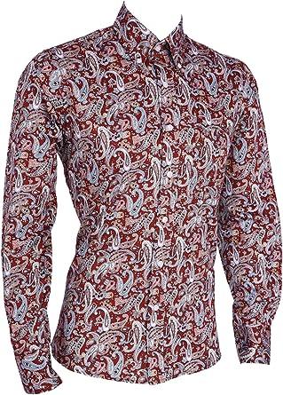 Camisa de Manga Larga para Hombre, diseño de Cachemira Floral, Color Burdeos Burgundy Maroon Multi Colour XL 107/112 cm: Amazon.es: Ropa y accesorios