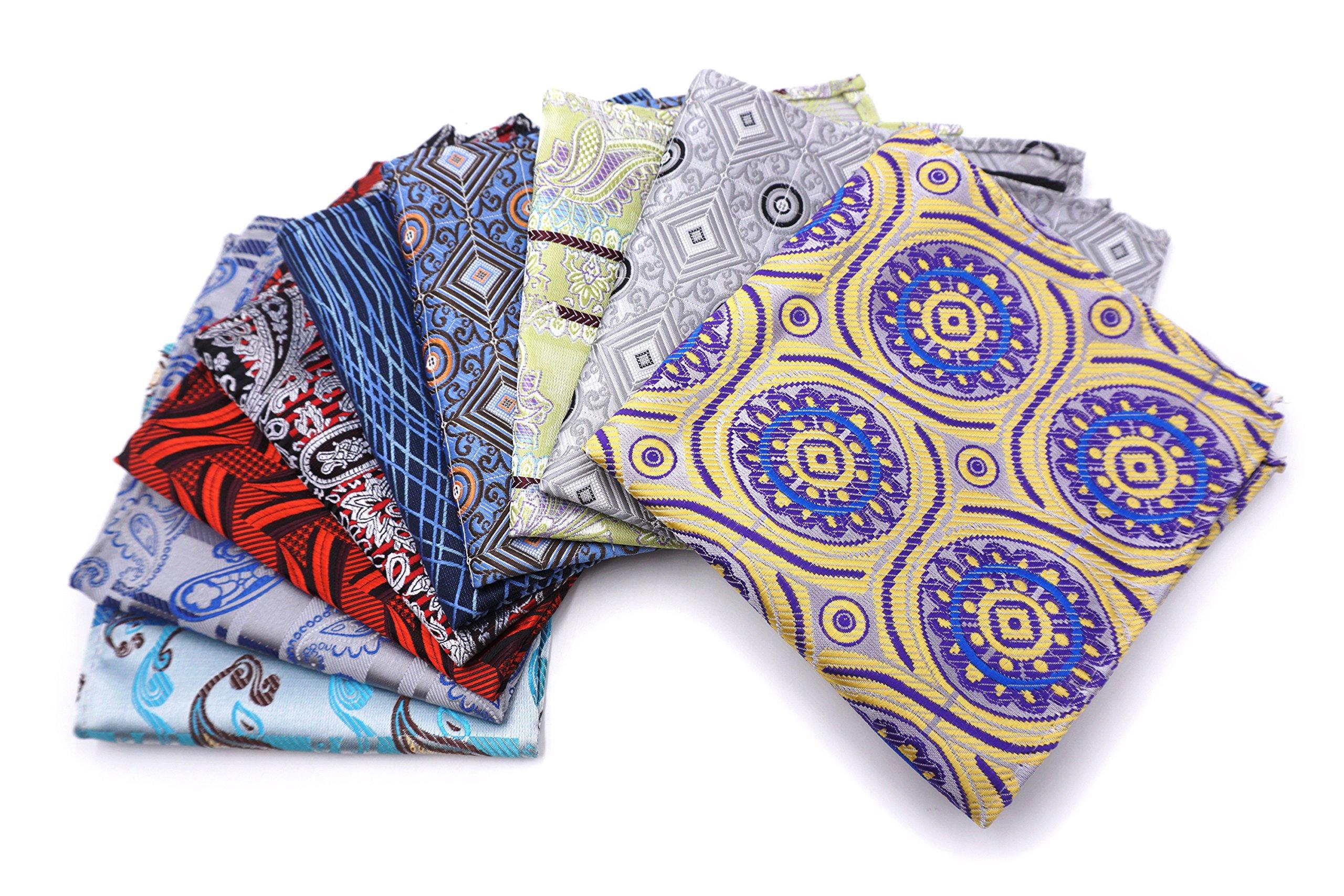 AVANTMEN 10 PCS Men's Pocket Squares Assorted Woven Handkerchief Hanky with Gift Box (10 x 10, S6)