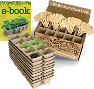 Blooming Life Seedling Starter Tray Set - 100 Cells - 10 Germination Trays x 10 Biodegradable Pots for Seedlings - Bonus 20 Bamboo Markers and Gardening Book Included - 100% Natural and Compostable