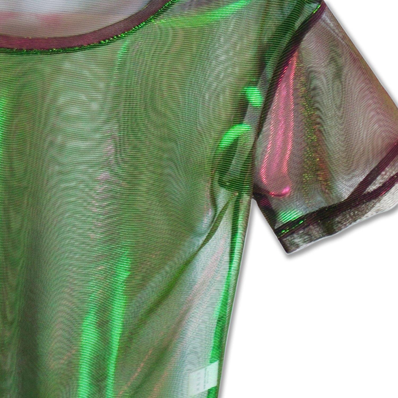 Perfashion colorful Fine Mesh Shirt Metallic Shimmer See Through Shirt For Women, Green Red, X-Large by Perfashion (Image #6)
