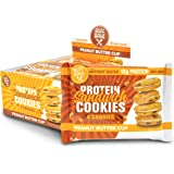 Buff Bake Protein Sandwich Cookies Peanut Butter Cup 8 individual 51G packs (12g Protein Per Pack); Crispy protein cookies sandwiched with Gluten Free, Non GMO, & Low Sugar Protein Nut Butter