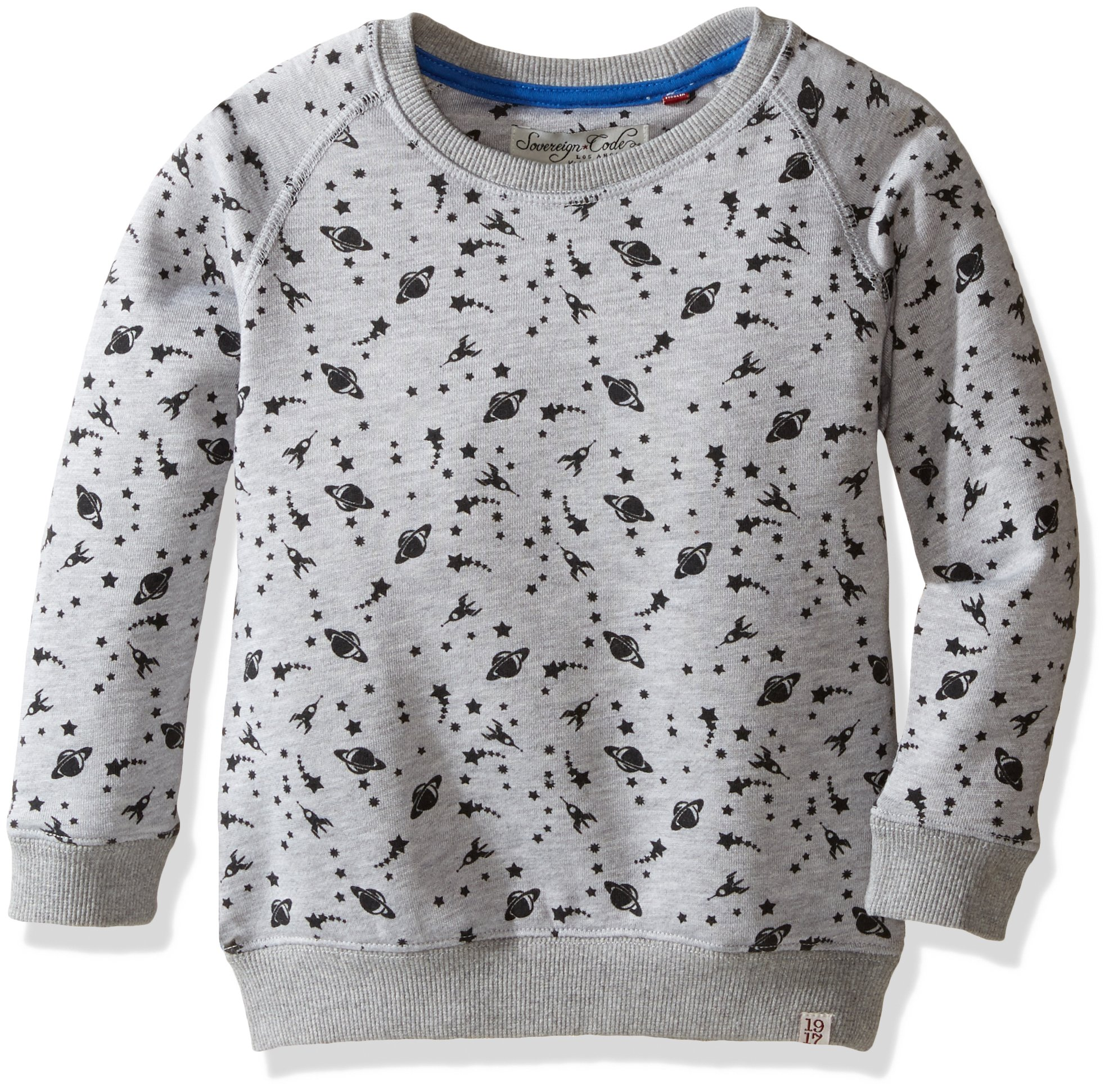 Sovereign Code Boys' Little Bryson-Allover Print Crewneck, Outerspace, 6