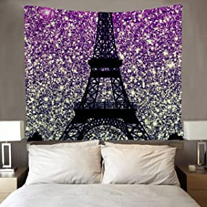 SARA NELL Effiel Towel Bling Pink Tapestry Art Wall Hippie Art Paris City Tapestries Wall Hanging Throw Tablecloth 50X60 Inches for Bedroom Living Room Dorm Room