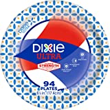 """Dixie Ultra Paper Plates, 6 7/8"""", Dessert or Snack Size Printed Disposable Plates, 94 count (1 Pack of 94 Plates)"""