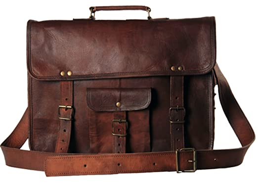 Amazon.com | HandMadeCart Leather messenger briefcase laptop ...
