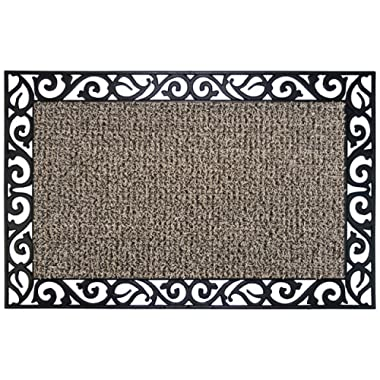 GrassWorx Clean Machine Wrought Iron Stems and Leaves Doormat, 24  x 36 , Earth Taupe (10374069)