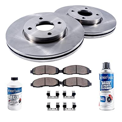 Detroit Axle - Front Brake Kit Rotors & Ceramic Pads w/Clips Hardware Kit & Brake Kit CLEANER & FLUID for 97 Acura CL 2.2L - [91-94 Accord w/Akebono Calipers] - 95-97 Accord 2.2L - NO WAGON MODELS: Automotive