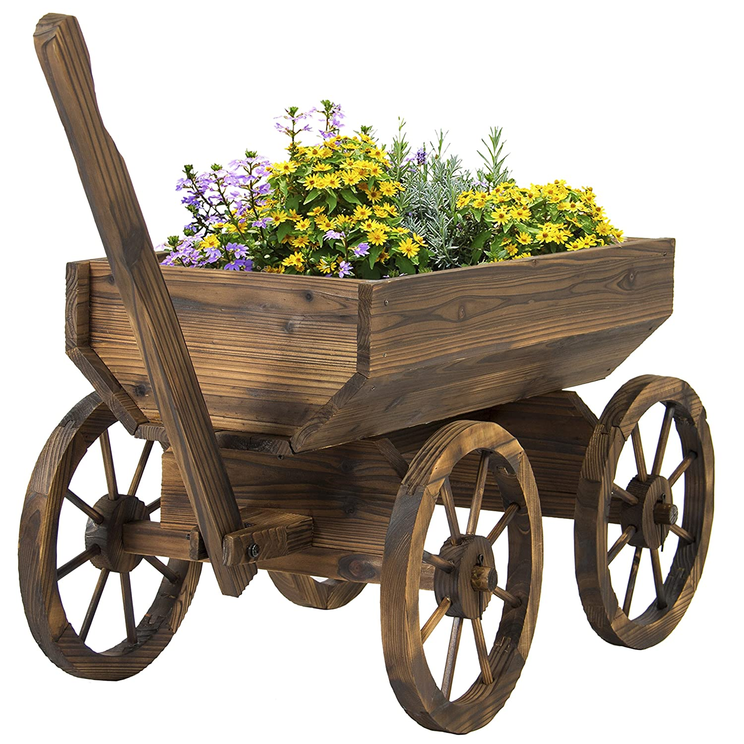 Patio Garden Wooden Wagon Backyard Grow Flowers Planter w/ Wheels