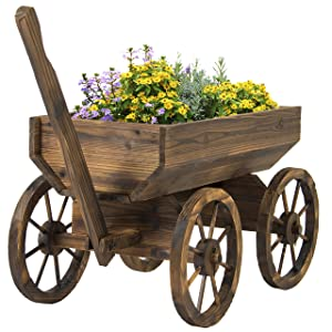 Best Choice Products Wood Flower Planter Wagon Pot Stand w/Wheels for Home, Patio, Garden, Outdoor Decor - Brown