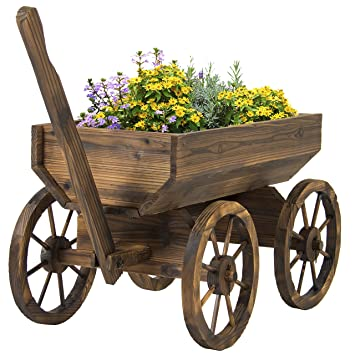 Simple Patio Garden Planter Wooden Wagon Backyard Grow Flowers W Wheels Home Outdoor Throughout Design Decorating