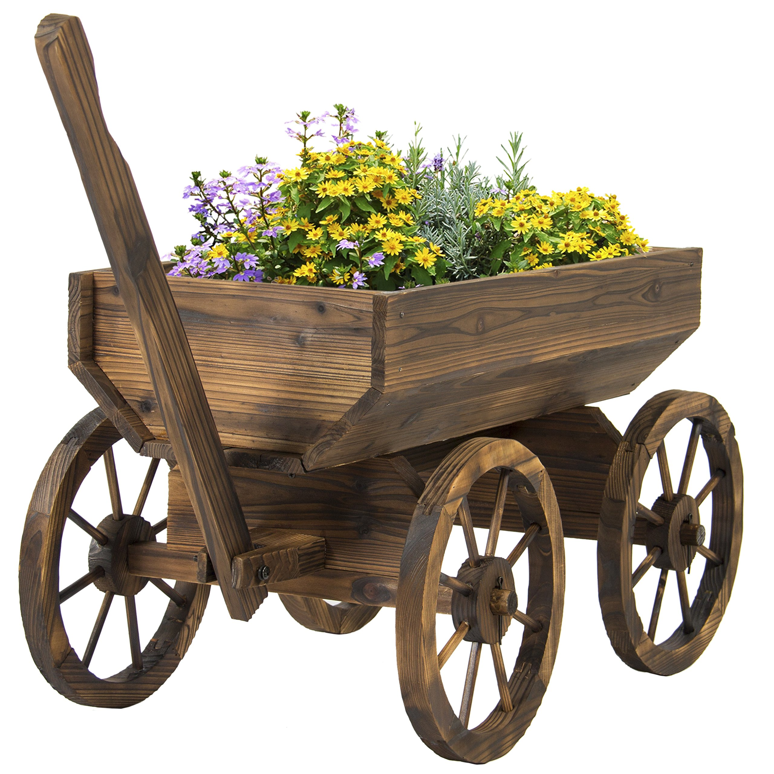 Best Choice Products Patio Garden Wooden Wagon Backyard Grow Flowers Planter w/ Wheels Home Outdoor by Best Choice Products