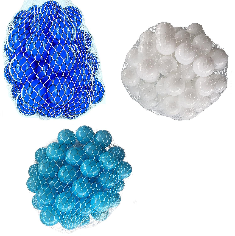 150 Bälle für Bällebad gemischt mix mit türkis, weiß und blau mybällebad