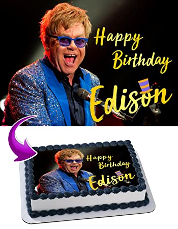 Elton John Birthday Cake Personalized Toppers Edible Frosting Photo Icing Sugar Paper A4 Sheet 1