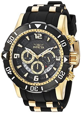 Invicta Mens Pro Diver Quartz Stainless Steel and Polyurethane Diving Watch, Color: