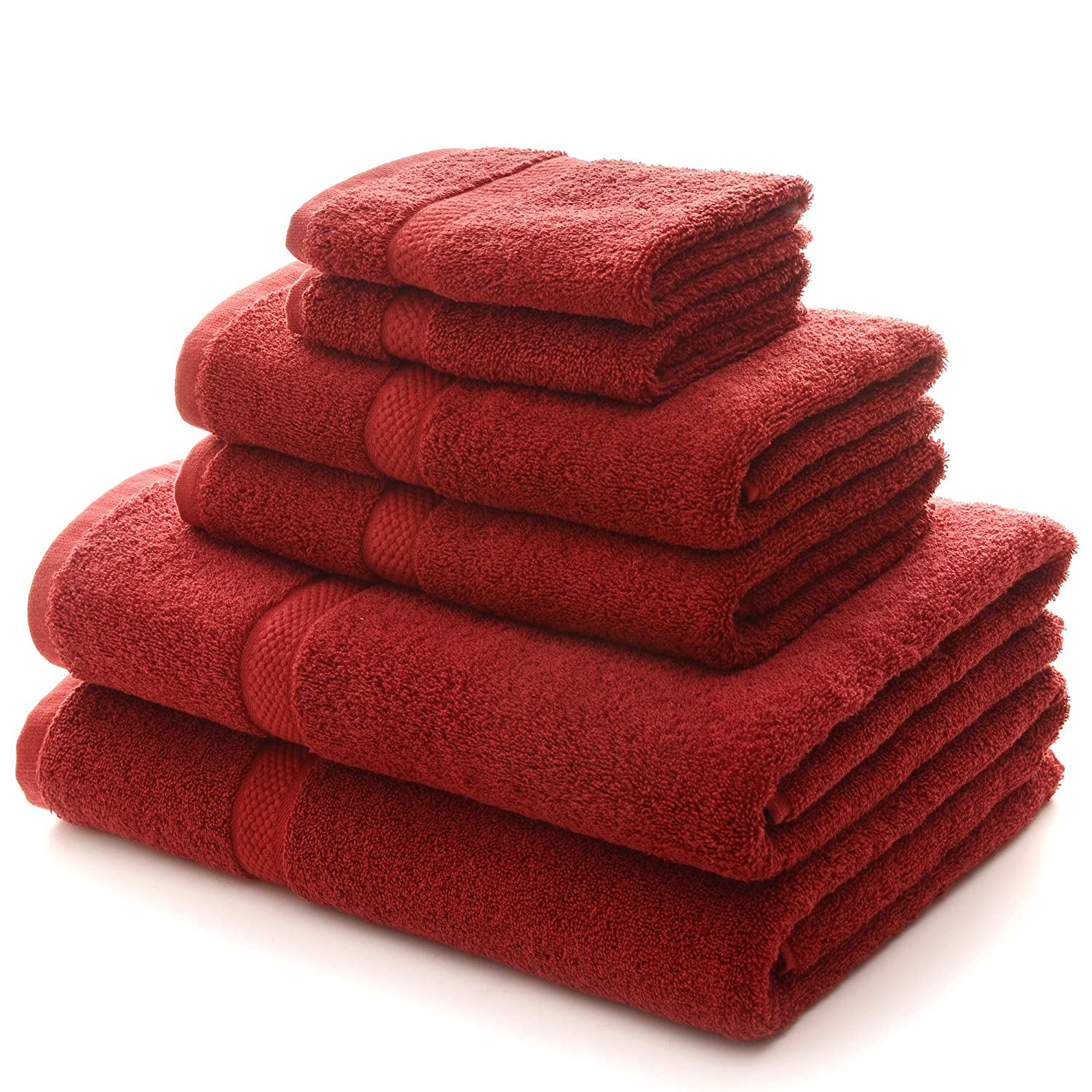 (Burgundy) - Cheer Collection 6 Piece Luxurious Towel Set - Solid Burgundy B00YFSTK6I バーガンディー