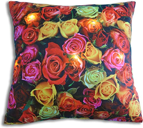 Decorative LED Throw Pillow with insert 45x45cm 18×18 inch Roses