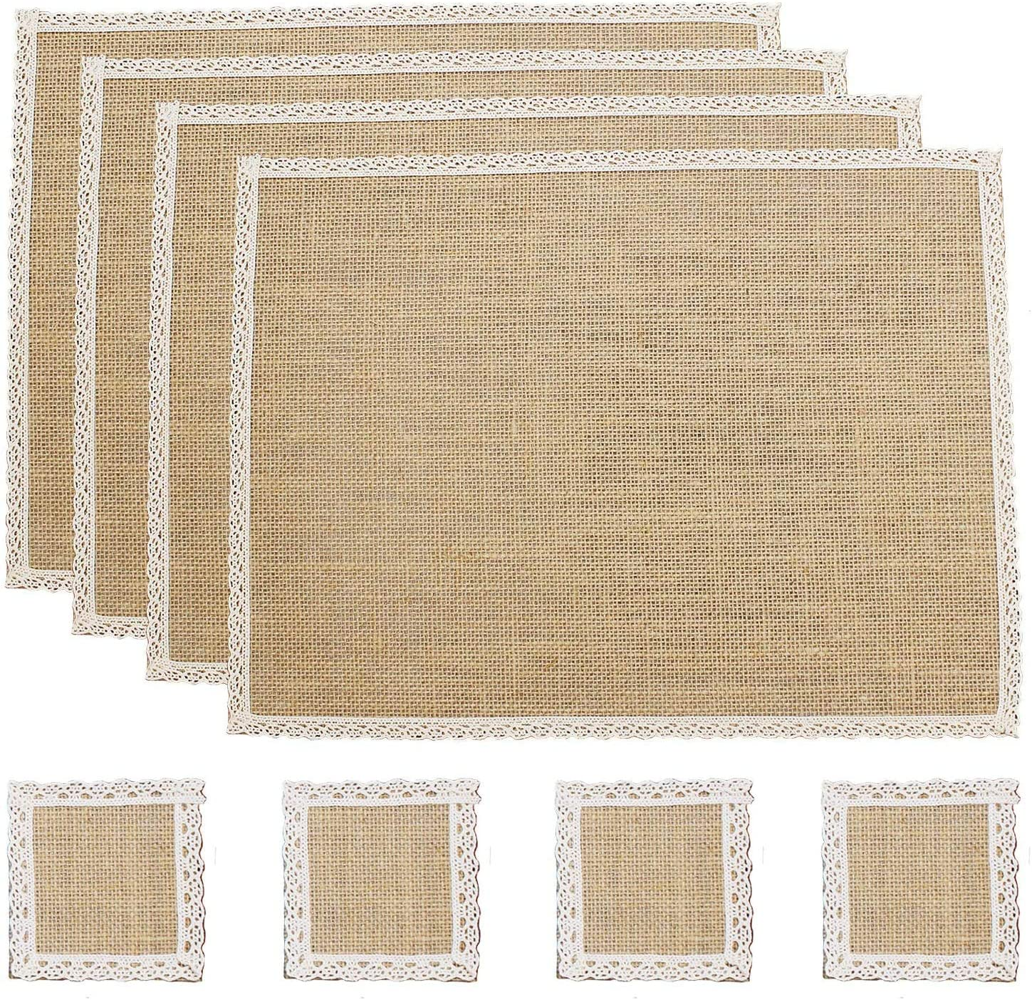 Amazon Com Fiveren Coffee Bar Mat Burlap With Lace Water Proof Placemats Farmhouse Rustic Table Mat For Parties Weddings Bbq S Holidays Everyday Use 4 Piece Placemats 4 Pieces Cup Mats Kitchen Dining