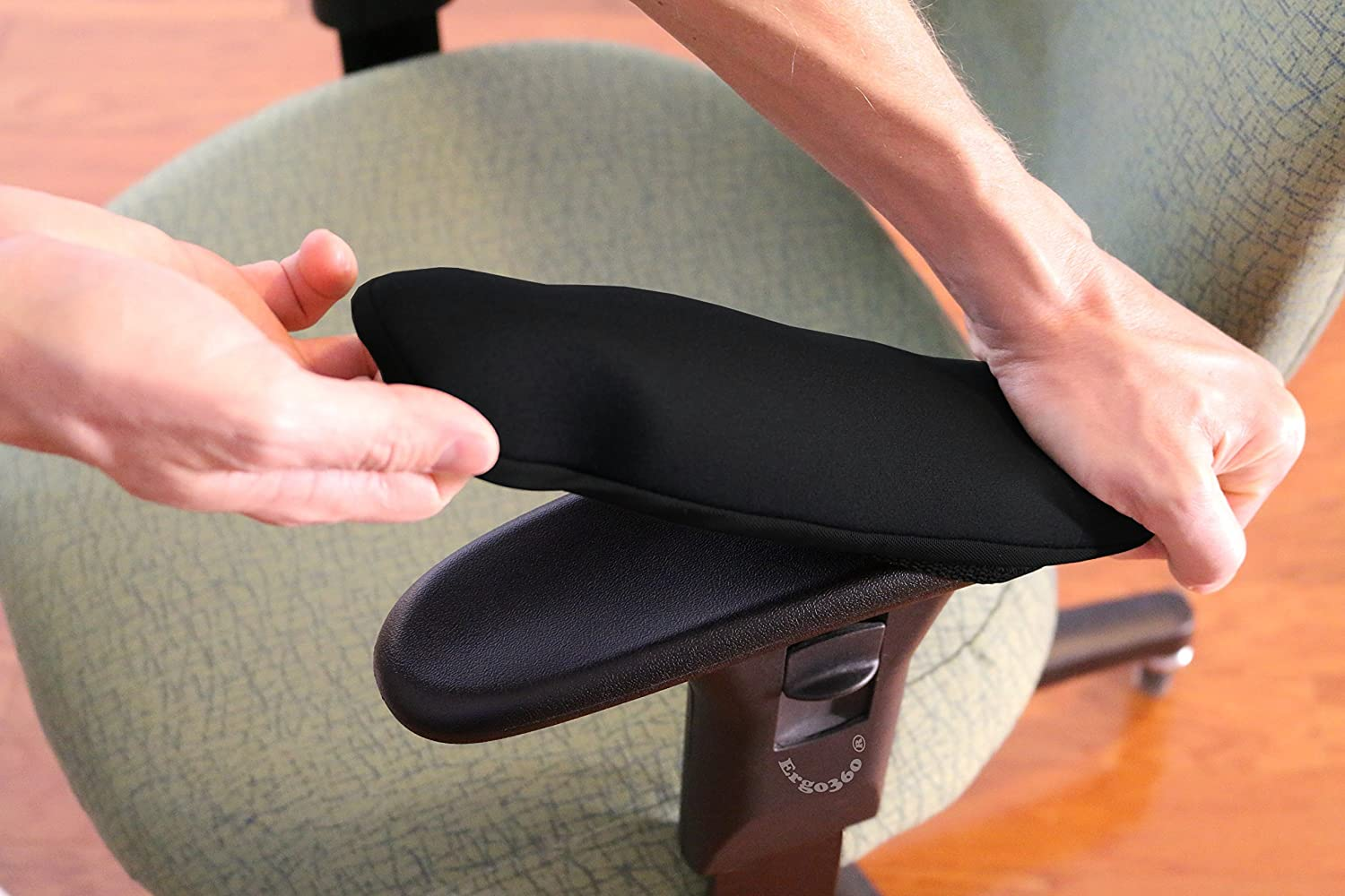 "Ergo360 Soft Chair Arm Pad Covers Stretch Over Armrests 10.5"" to 13"" Long. Restore, Protect, and Cushion Chair Armrests. Complete Set of 2. Simple Installation."