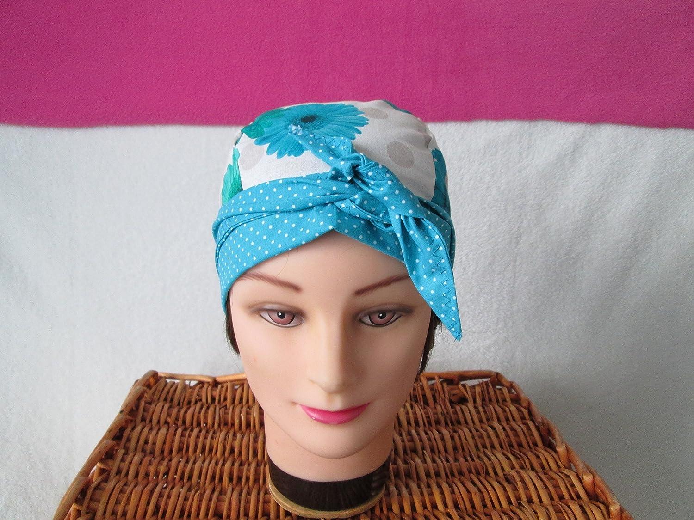 Foulard, turban chimio, bandeau pirate au féminin fleuri turquoise à petits pois blancs