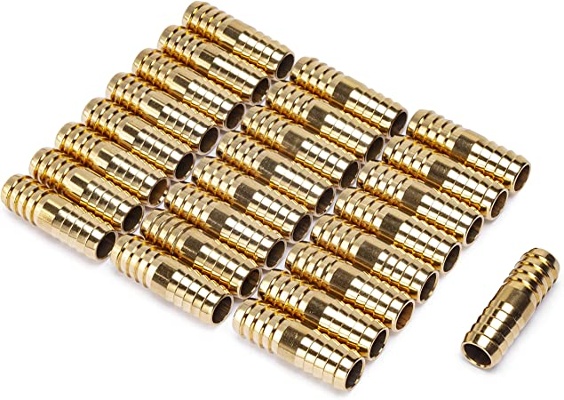 LTWFITTING Brass Barb Hose Splicer Mender 1//8-Inch Fitting Air Water Fuel Boat Pack of 50