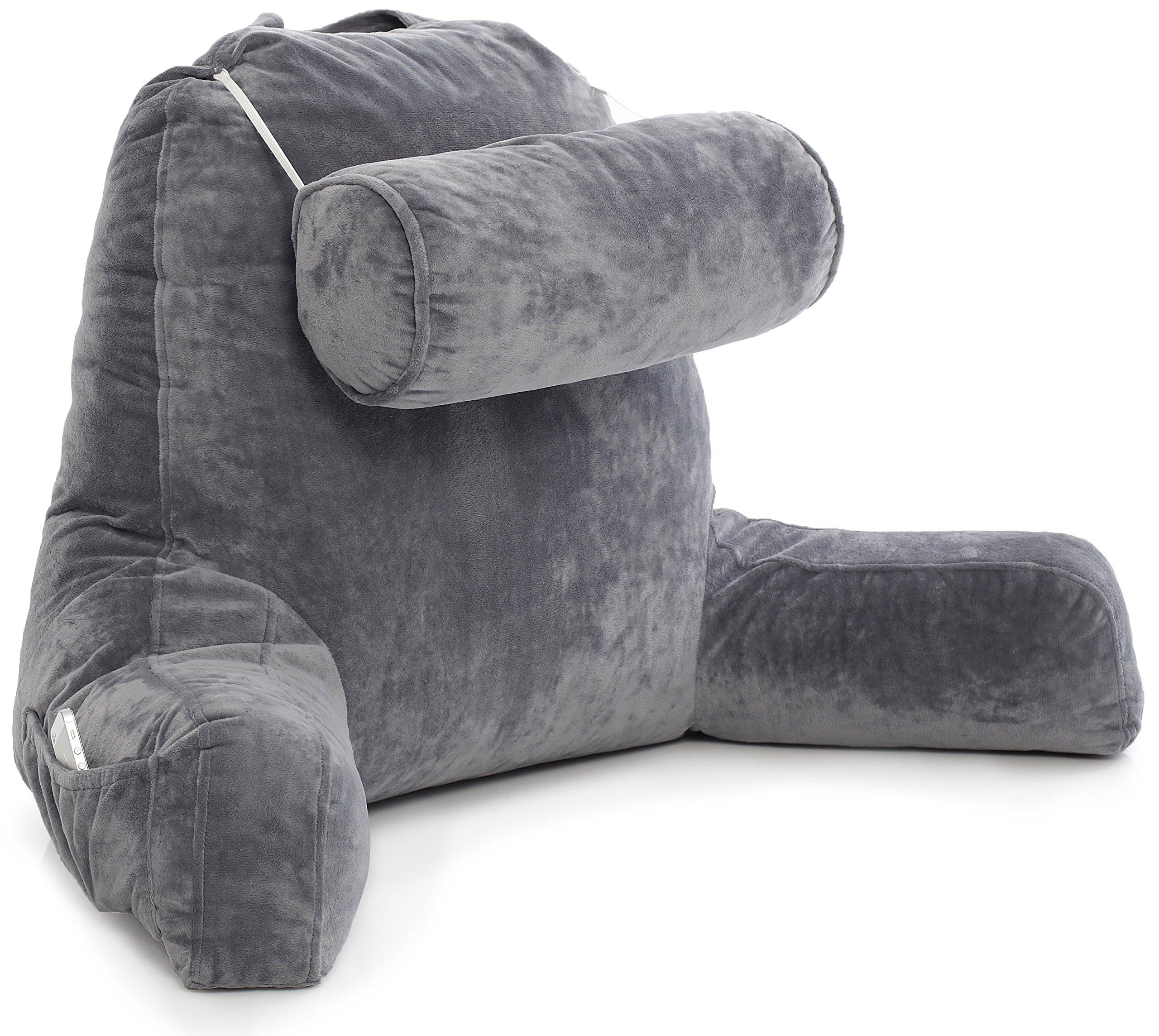 husband pillow big bedrest reading support bed backrest with arms premium 712038556311 ebay. Black Bedroom Furniture Sets. Home Design Ideas