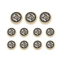 Funcoo 11 pcs Metal Blazer Button Vintage Antique Suits Button Set for Blazer, Suits, Sport Coat, Uniform, Jacket