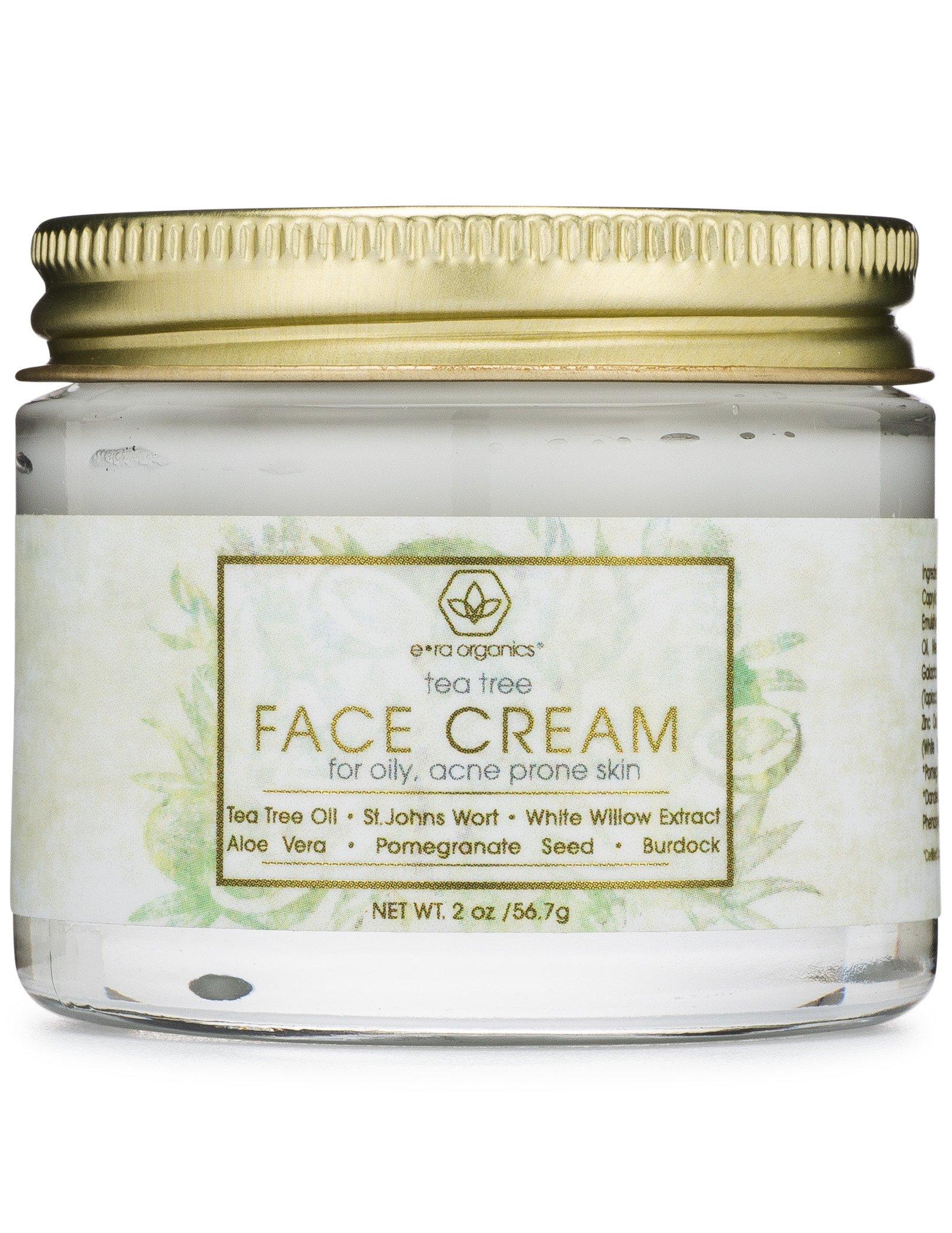 Tea Tree Oil Face Cream - For Oily, Acne Prone Skin Care Natural & Organic Facial Moisturizer with 7X Ingredients For Rosacea, Cystic Acne, Blackheads & Redness 2oz Era-Organics by Era Organics