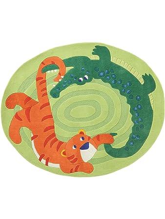 Teppich rund kinderzimmer grün  Amazon.de: Haba Teppiche Kinderzimmer Kinderteppich Zoo Grün ...