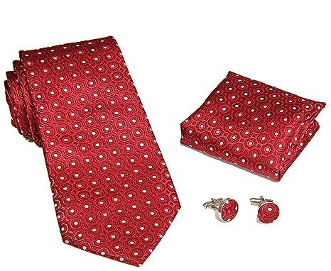 MONETTI Set de Corbata - 100% seda - modelo de color rojo con ...