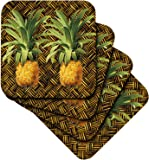 3dRose A Pair of Juicy Tropical Pineapples Botanical Illustration - Soft Coasters, Set of 8 (cst_220881_2)