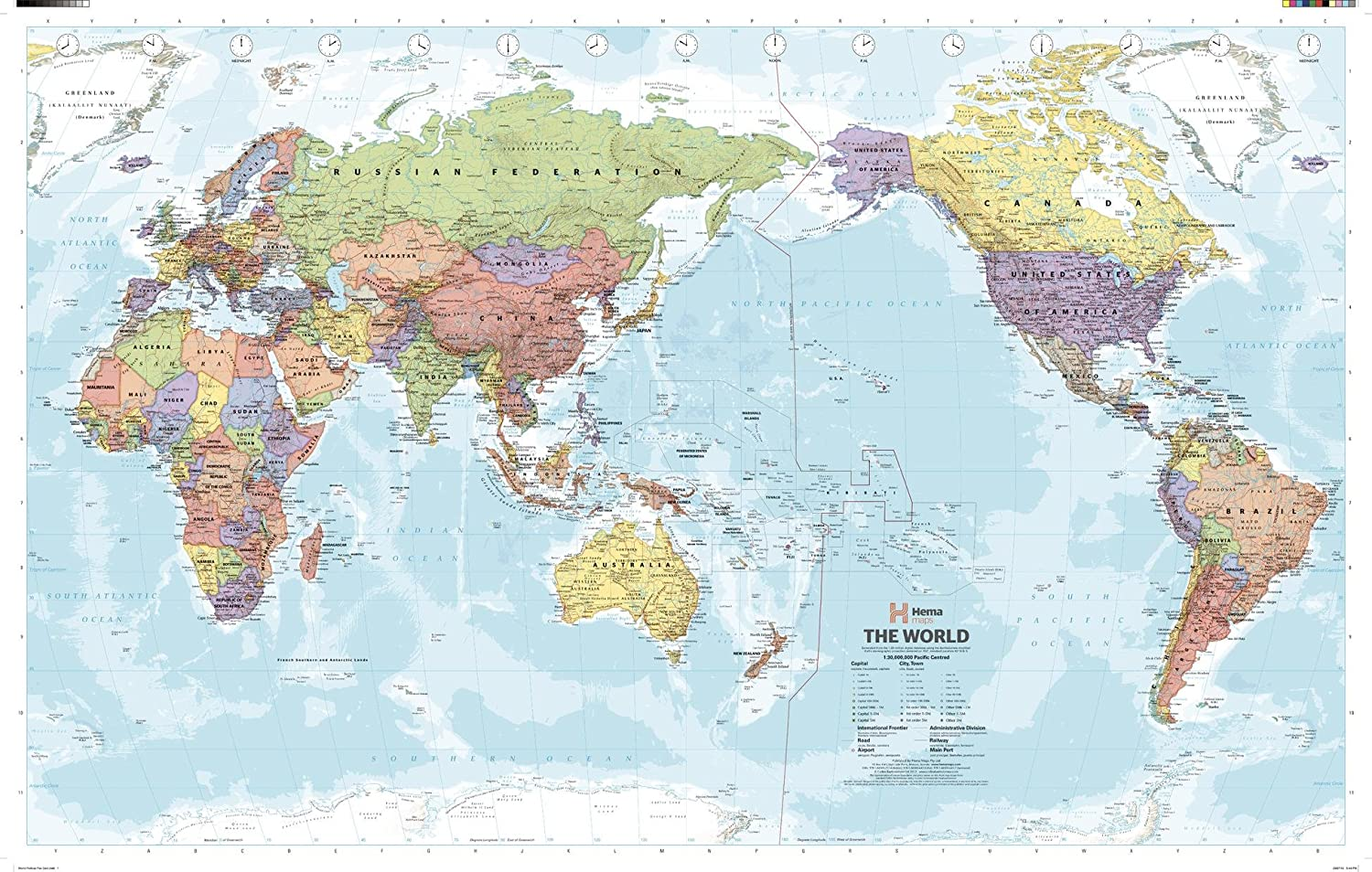 World Map Pacific Centered Amazon.: Pacific Centred World Political Wall Map   40.75