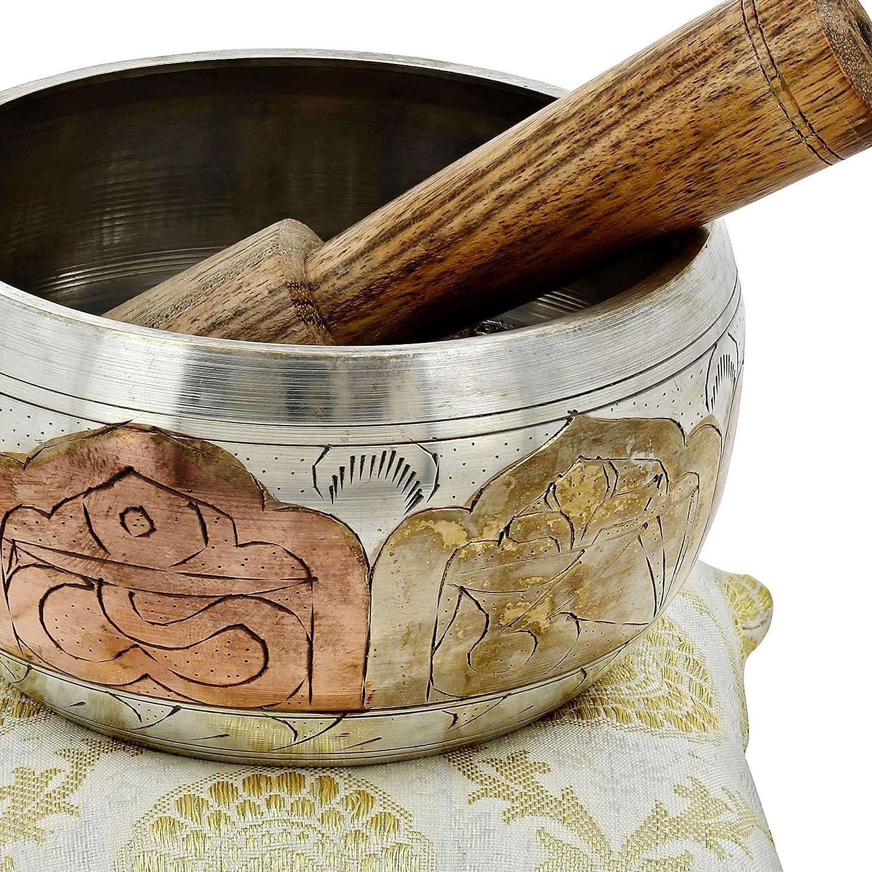 Tibetan Singing Bowl Meditation Copper and Silver Buddhist D/écor 4 Inch
