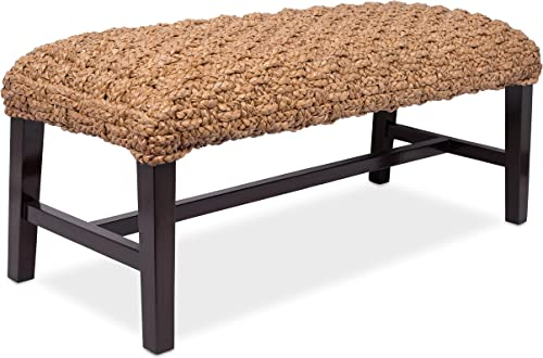 BIRDROCK HOME Checkered Weave Entryway Bench – Hand Woven – Dark Brown Mahogany Wood Legs – Bedroom – Living Room Decor – Fully Assembled