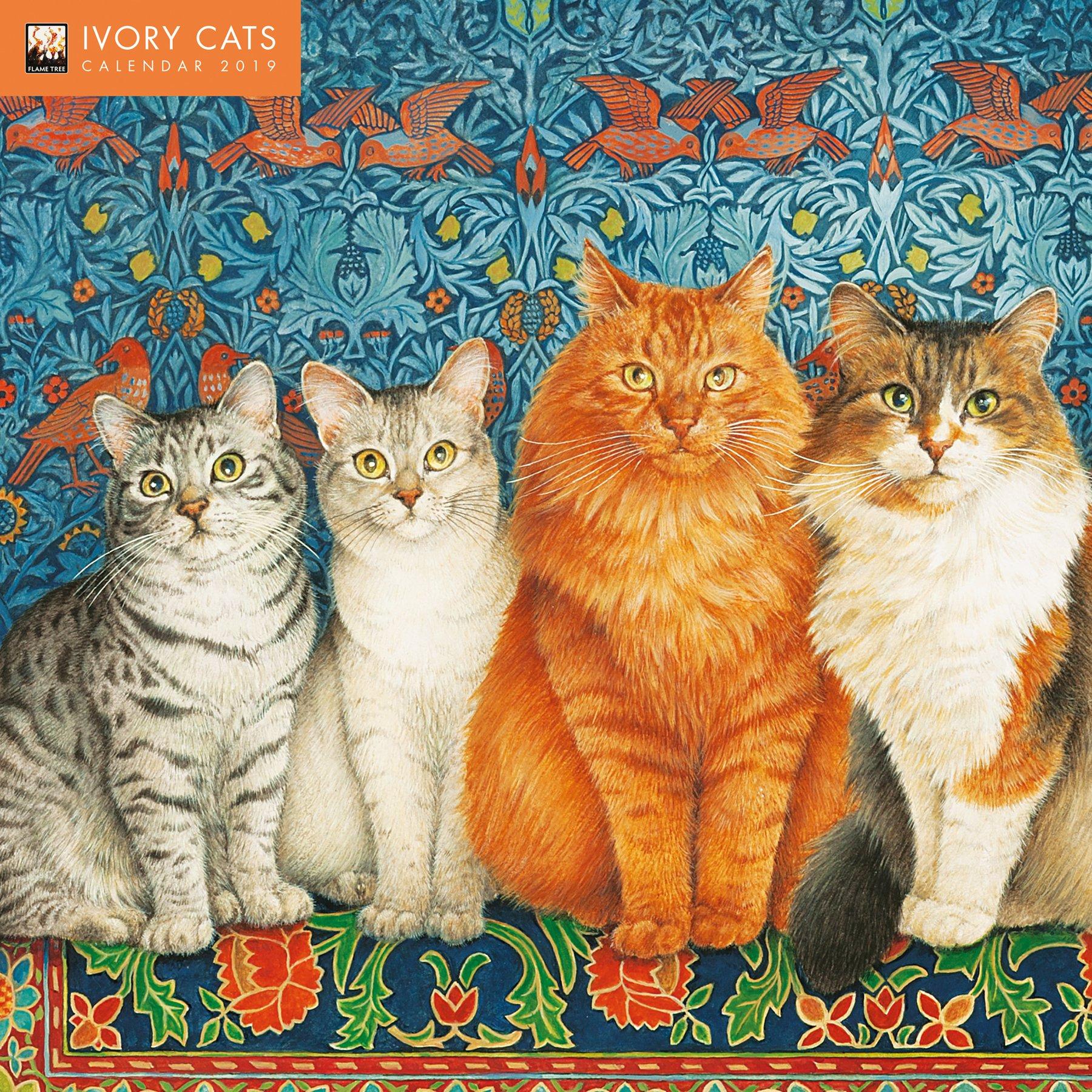 ivory cats wall calendar 2019 art calendar