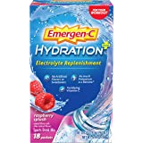 Emergen-C Hydration+ Sports Drink Mix With Vitamin C (18 Count, Raspberry Flavor), Electrolyte Replenishment, 0.33 Ounce…