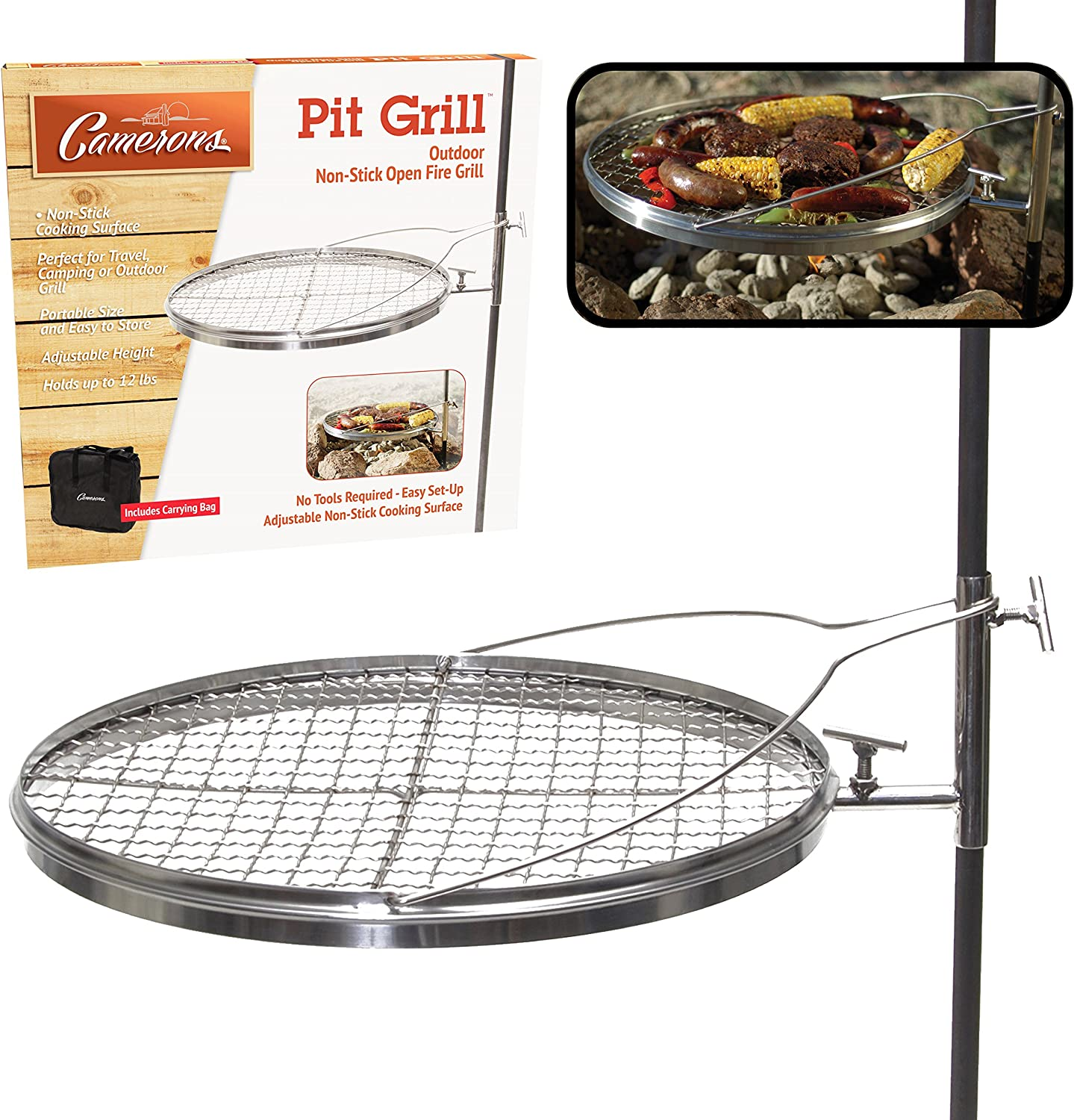 Campfire Pit Grill - Open Fire Swivel Camping Grill with XL Non-stick Grilling Surface and Carrying Bag - Great for 4th of July