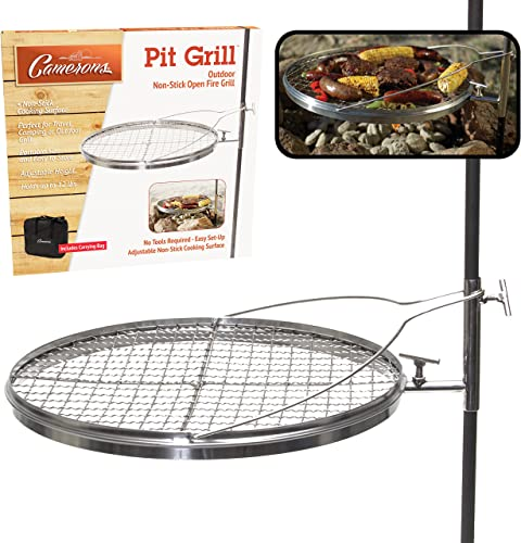 Campfire Pit Grill – Open Fire Swivel Camping Grill with XL Non-stick Grilling Surface and Carrying Bag – Great for 4th of July