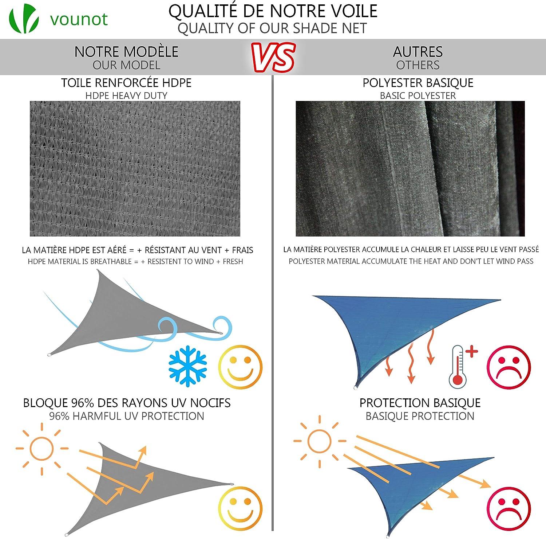 Traspirante HDPE Protezione UV VOUNOT Tenda a Vela Parasole Triangolare 3x3x3m per Esterno Giardino 19 Pezzi Kit di Montaggio Grigio