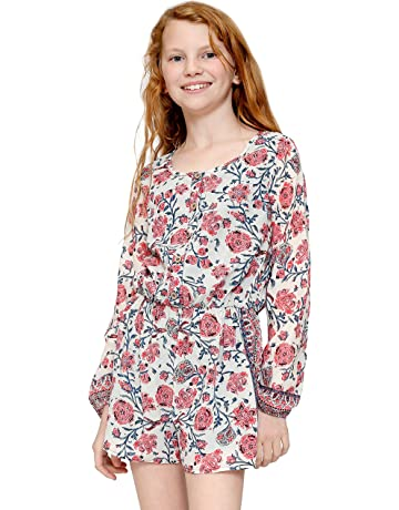 276082a18d37 Truly Me, Girls' Long Sleeve Woven Romper in Floral Print, Size ...