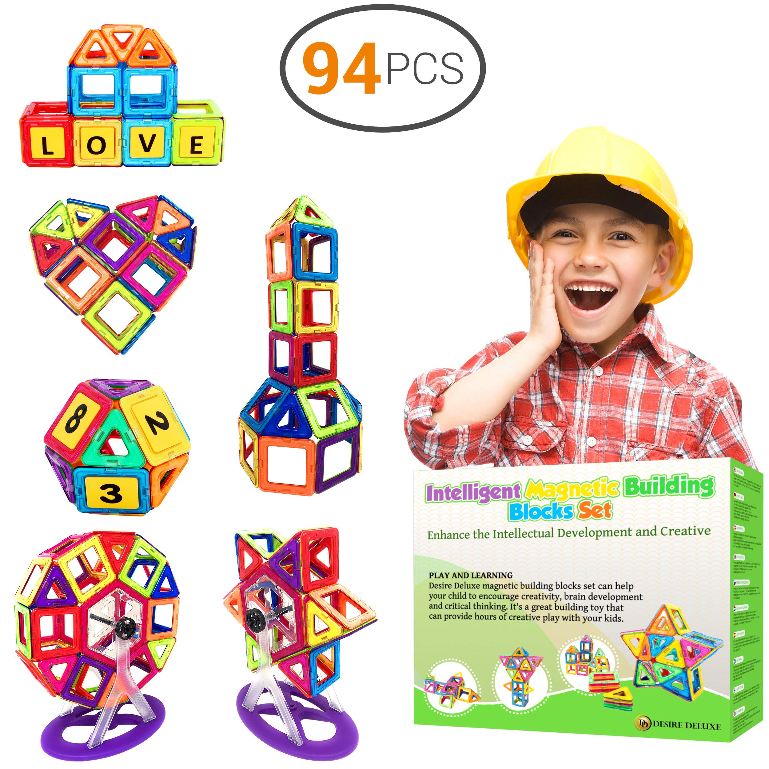 Desire Deluxe Magnetic Blocks Building Tiles STEM Toys Set (94pc ) - Children Creativity Educational 5 Year Old Boy Gifts for Kids Magnet Construction Toy for Girls Age 3 4 6 7 Unique Present by Desire Deluxe
